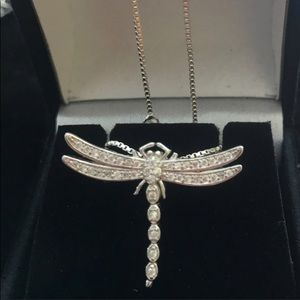 Jewelry - Sterling 925 Silver Zirconia Dragonfly necklace